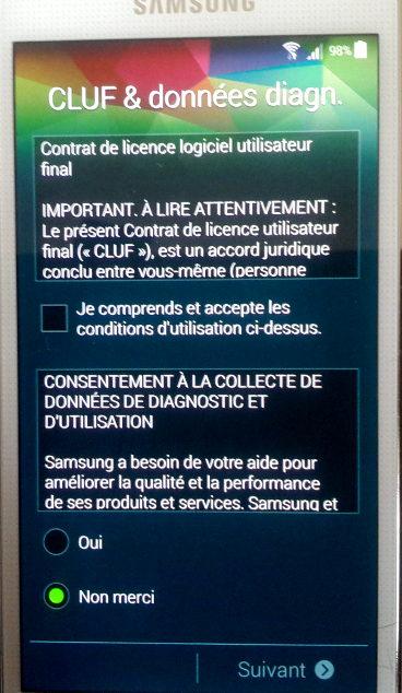 Interface utilisateur pour la licence Android sur téléphone Samsung